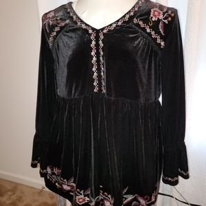 Style and Co black velvet top 2X